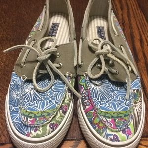 Size 10 SPERRY Floral Deck Shoes NWOT